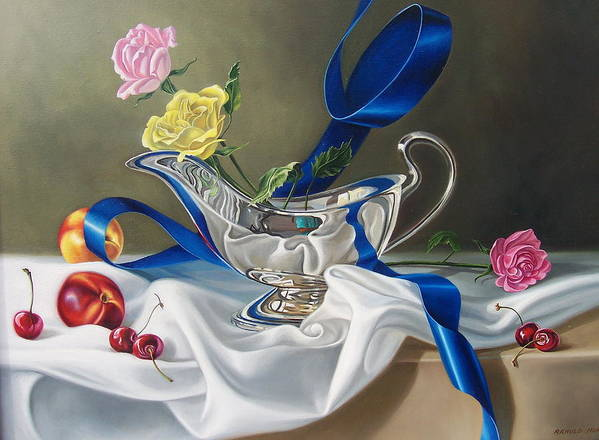 Still Life Poster featuring the painting Ribbon Of Silver by Arnold Hurley