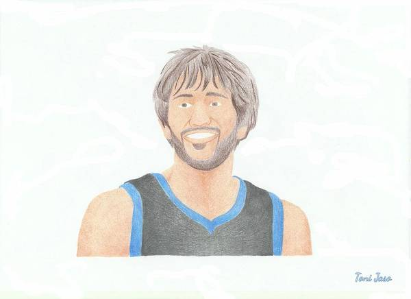Basketball Poster featuring the drawing Ricky Rubio by Toni Jaso