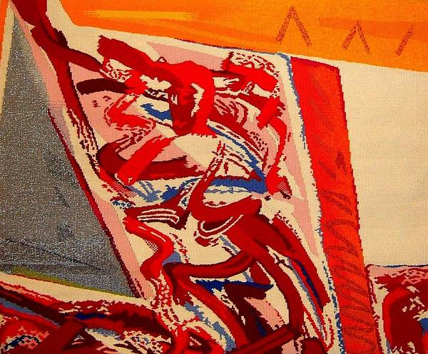 Abstract Poster featuring the tapestry - textile Riding The D Train by Dick Sauer