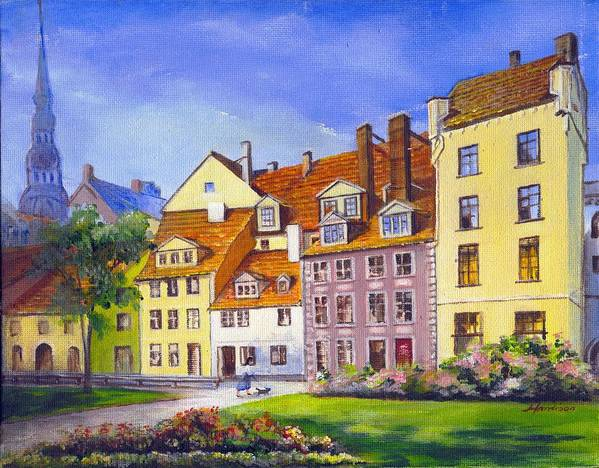 City Scape Poster featuring the painting Riga Latvia by Robynne Hardison