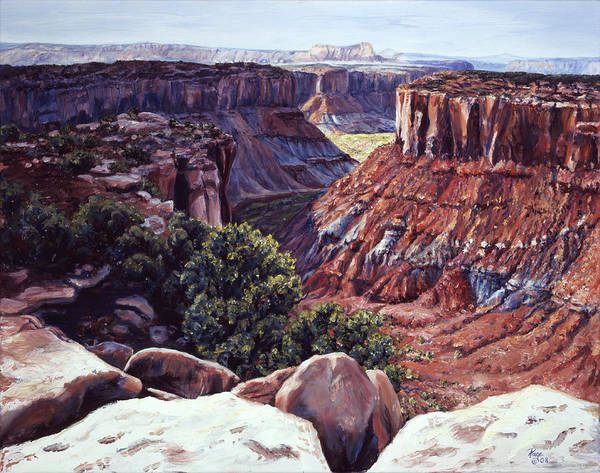 Landscape Poster featuring the painting Rimrocked No Way Down by Page Holland