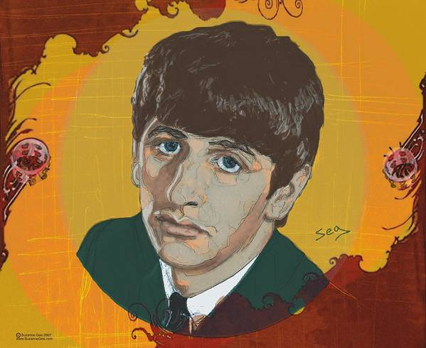 Ringo Starr Poster featuring the painting Ringo Starr by Suzanne Gee