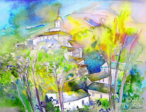 Watercolour Travel Painting Of A Village In La Rioja Spain Poster featuring the painting Rioja Spain 04 by Miki De Goodaboom