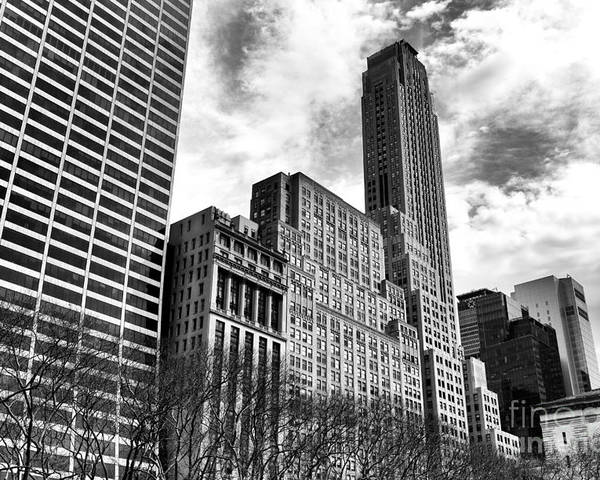 Rising In Manhatta Poster featuring the photograph Rising In Manhattan Mono by John Rizzuto