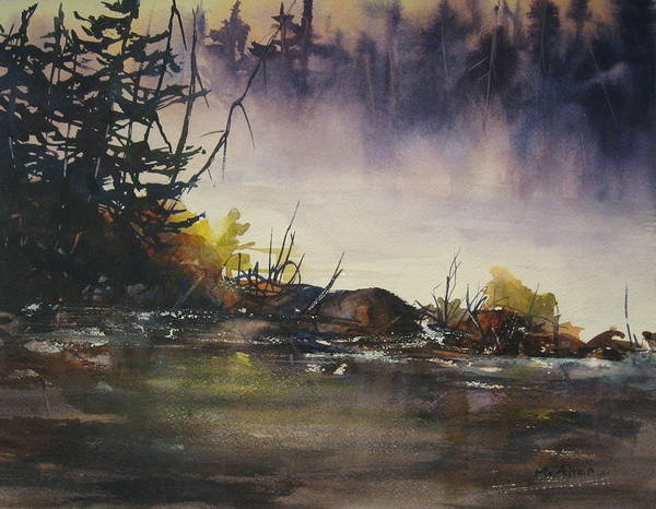 Lake Poster featuring the painting Rising Mist by Madelaine Alter