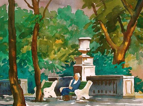 Figure Poster featuring the painting Rittenhouse Square by Faye Ziegler