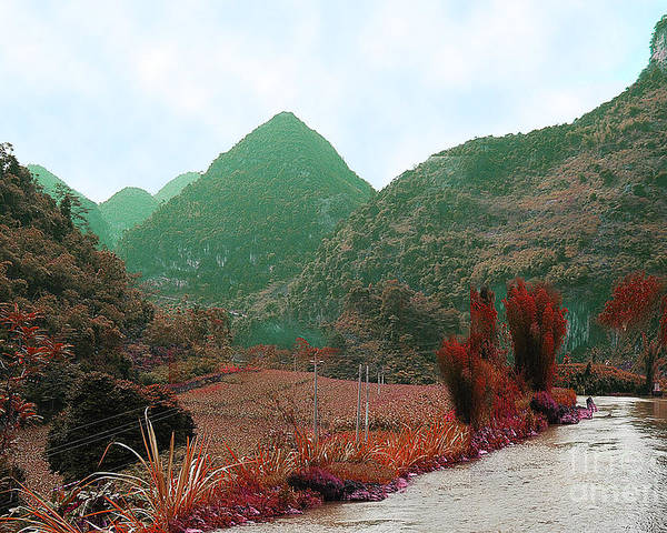 Landscape Poster featuring the photograph River Above The Valley by Dot Xie