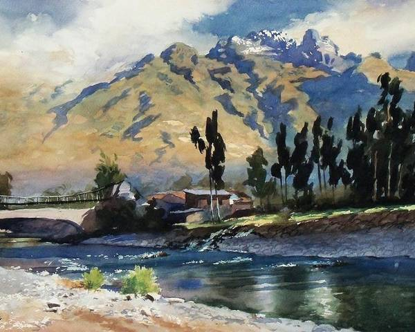 Bridge Poster featuring the painting River And Mountain by Oscar Cuadros