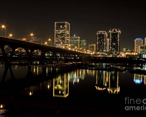 Richmond Cityscape Poster featuring the photograph River City Lights At Night by Tim Wilson