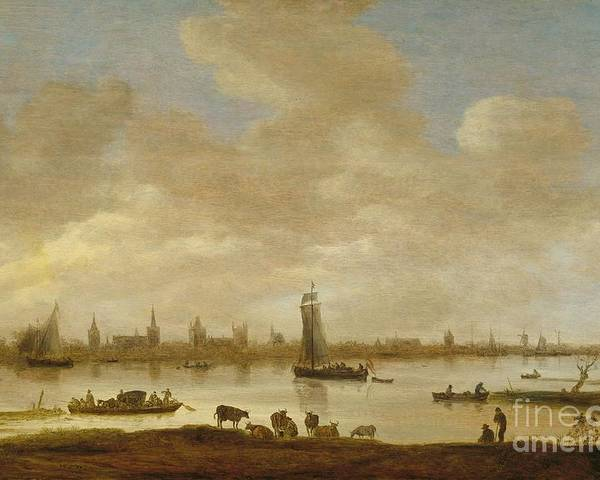 View Of An Imaginary Town On A River With The Tower Of Saint Pol In Vianen (river Landscape With View Of Vianen) Poster featuring the painting River Landscape With View Of Vianen by Celestial Images
