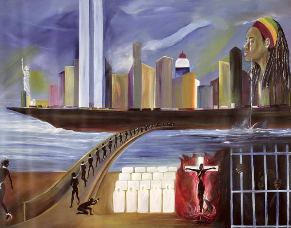 Crossing Poster featuring the painting River Of Babylon by Ikahl Beckford