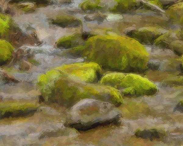 Smokey Mountains Poster featuring the digital art River Stones by Paul Bartoszek