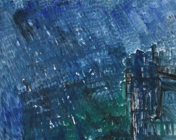 Poster featuring the painting River Water Rains by Prakash Bal Joshi