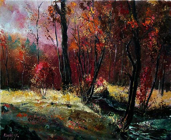 River Poster featuring the painting River Ywoigne by Pol Ledent