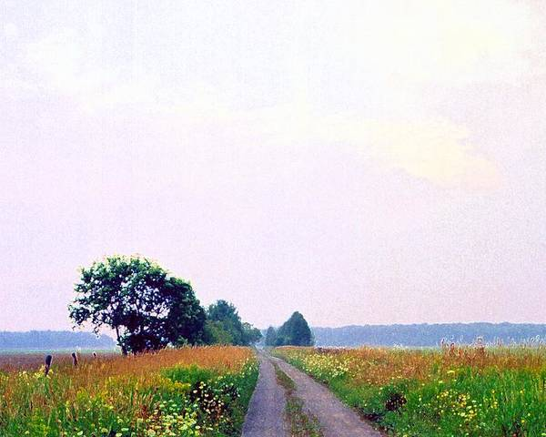 Landscape Poster featuring the photograph Road Through The Fields 3 Ae by Lyle Crump