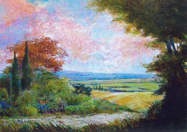 Landscape Poster featuring the painting Road To The Fields by Dale Witherow