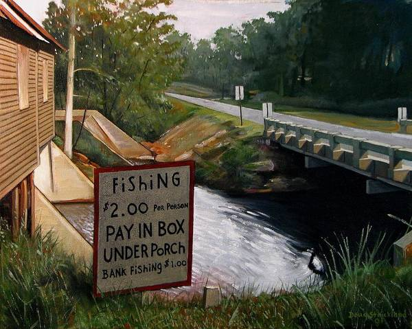 Doug Strickland Poster featuring the painting Roadside Fishing Spot by Doug Strickland