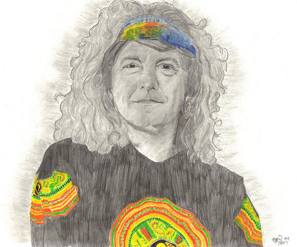 Robert Plant Poster featuring the drawing Robert Plant by Bari Titen