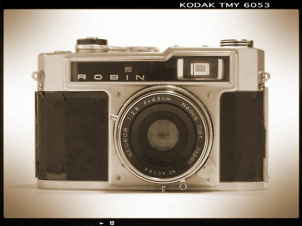 Vintage Robin Poster featuring the photograph Robin 35mm Rangefinder Camera by Mike McGlothlen