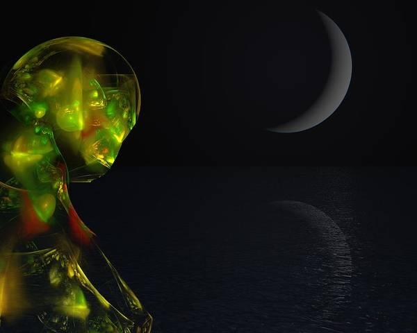 Abstract Digital Painting Poster featuring the digital art Robot Moonlight Serenade by David Lane