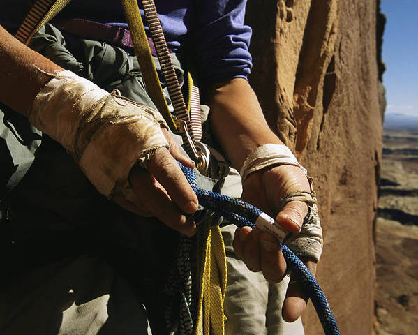 Model Released Photography Poster featuring the photograph Rock Climber Becky Halls Wrapped Hands by Bill Hatcher
