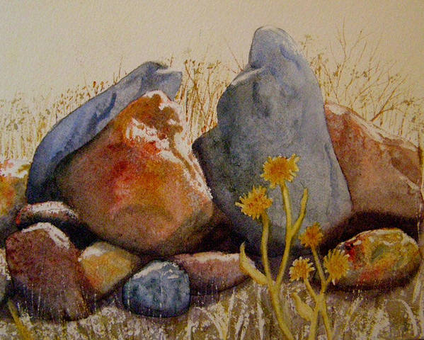 Landscape Poster featuring the painting Rocks by Teresa Boston