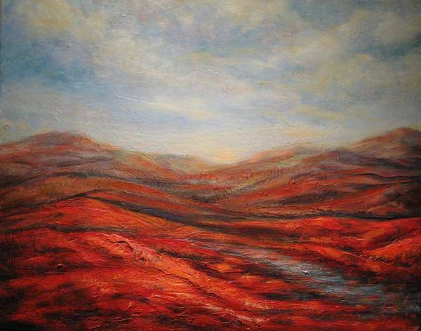 Landscape Poster featuring the painting Rocky Hills by Mirjana Gotovac