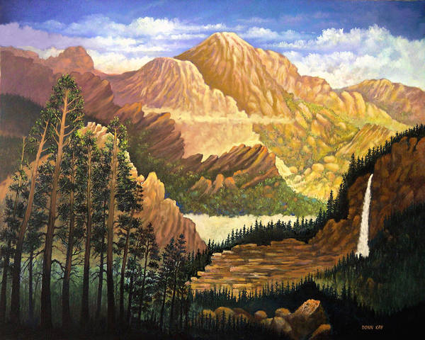 Mountains Colorado New Mexico Arizona Waterfall Sunrise Southwest Landscape Giclee Prints Poster featuring the painting Rocky Mountain Sunrise by Donn Kay