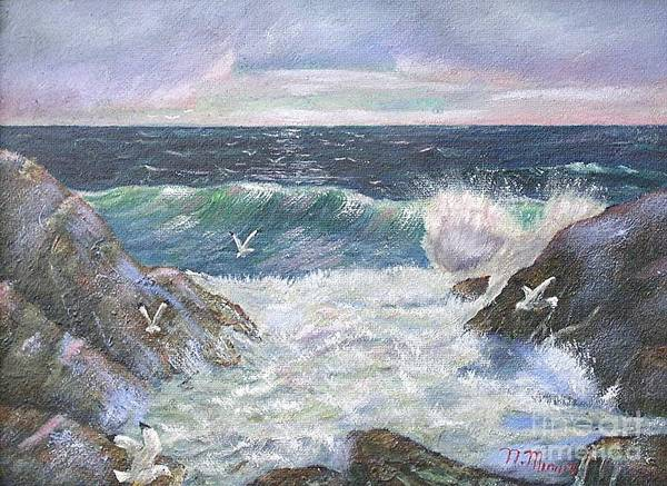 Original Oil Painting Seascape Rocky Shore.  Poster featuring the painting Rocky Shore by Nicholas Minniti