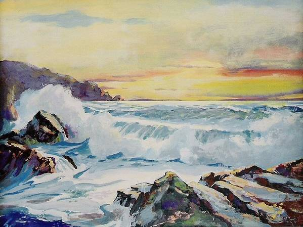 Poster featuring the painting Rocky Sunset by Barry Smith