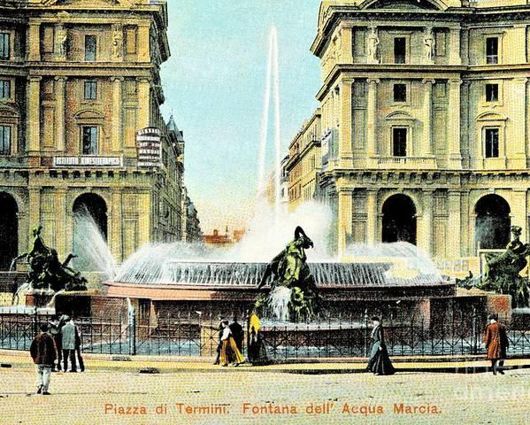 Poster featuring the photograph Roma 1900 Piazza Di Termini by Heidi De Leeuw