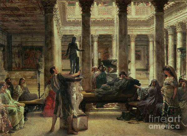 Roman Poster featuring the painting Roman Art Lover by Sir Lawrence Alma-Tadema