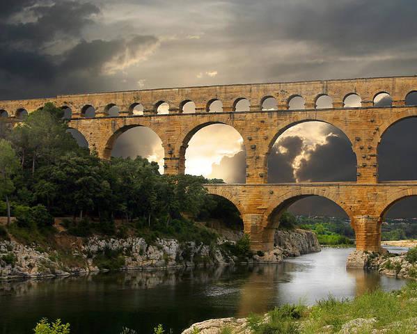 Bridge Poster featuring the photograph Roman Pont Du Gard by Melvin Kearney