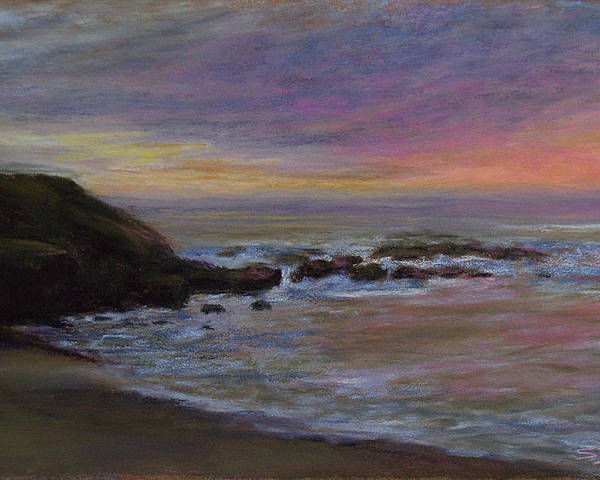 Landscape Poster featuring the pastel Romantic Shore by Susan Jenkins