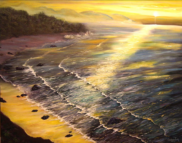 A Painting A Day Poster featuring the painting Romantic Sunset Surf by Connie Tom