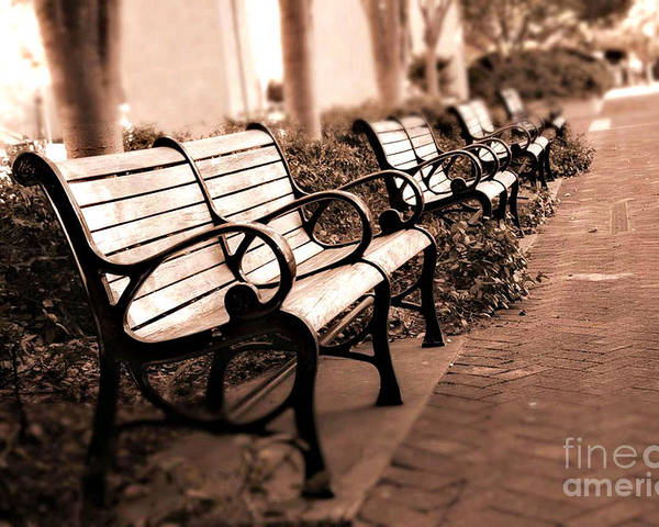 Dreamy Park Benches Poster featuring the photograph Romantic Surreal Park Bench Pink Sepia Tones by Kathy Fornal