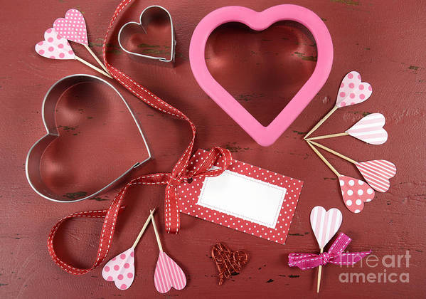 Valentine Poster featuring the photograph Romantic Theme Cookie Cutters by Milleflore Images