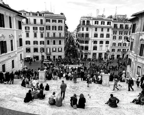 Rome View Poster featuring the photograph Rome View From The Spanish Steps by John Rizzuto