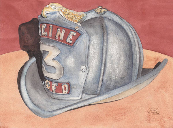 Fire Poster featuring the painting Rondo's Fire Helmet by Ken Powers