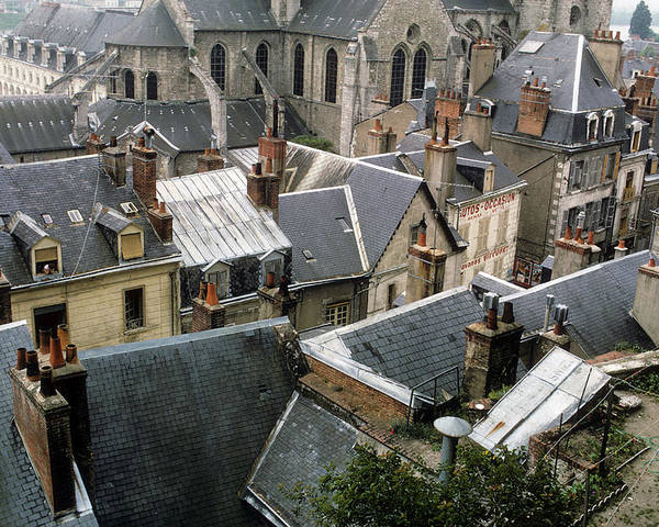 Rooftops Poster featuring the photograph Rooftops Of Blois In France 3 by Carl Purcell