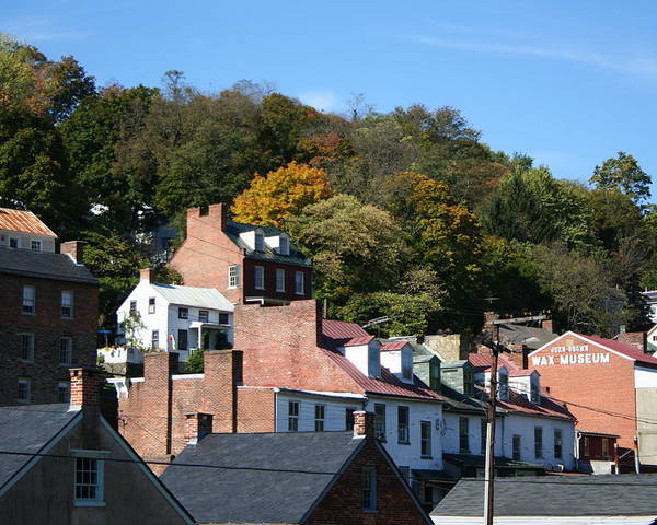 Roofs Poster featuring the photograph Rooftops Of Harpers Ferry by Rebecca Smith