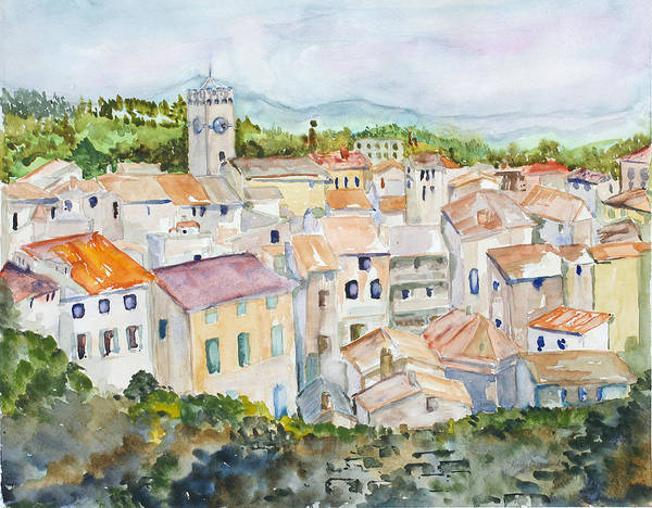 Landscape Poster featuring the painting Rooftops Of Viviers by Nancy Brennand
