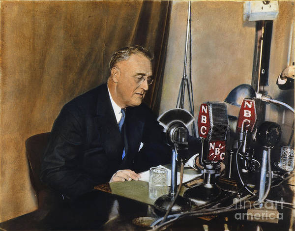 1938 Poster featuring the photograph Roosevelt: Fireside Chat by Granger