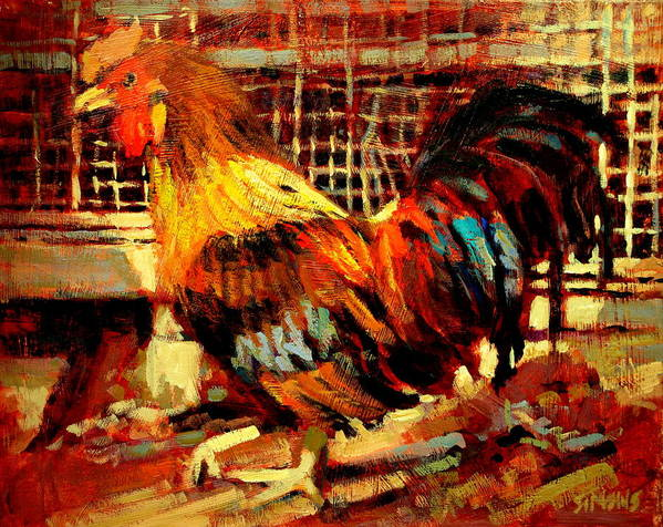 Rooster Poster featuring the painting Rooster by Brian Simons