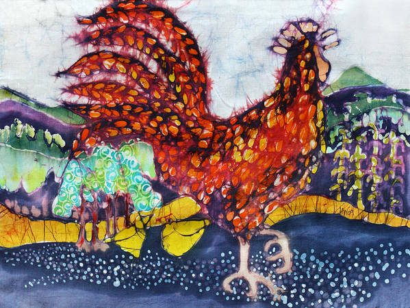 Farm Poster featuring the tapestry - textile Rooster In The Morning by Carol Law Conklin