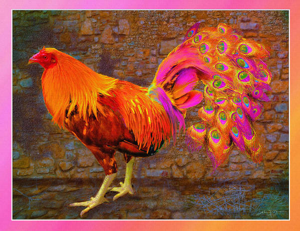 Cross Breed Between A Rooster And A Peacock Poster featuring the painting Rooster Peacock by John Breen