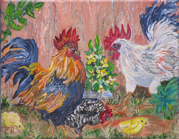 Rooster Poster featuring the painting Rooster Ranch by Mikki Alhart