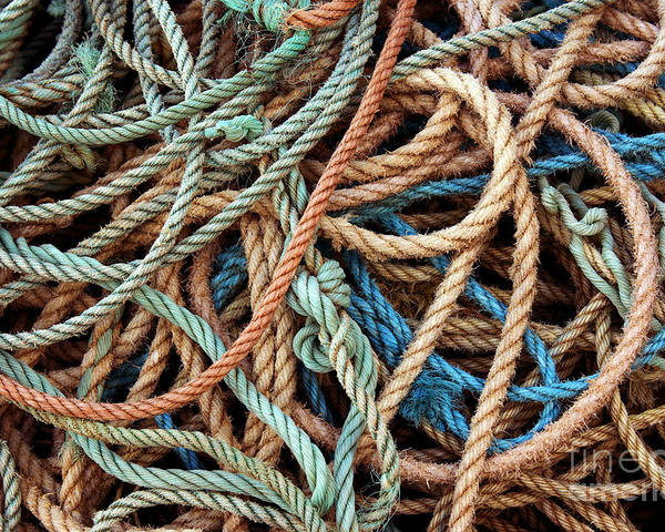 Abstract Poster featuring the photograph Rope Background by Carlos Caetano