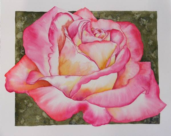 Red Poster featuring the painting Rose 4 by Diane Ziemski