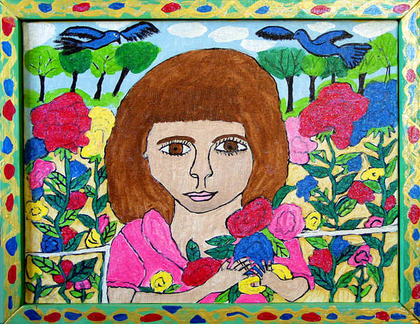 Rose Flowers Child Birds Poster featuring the painting Rose by Betty Roberts